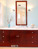 Modern blue fresh new bathroom — Stock Photo