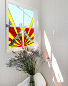 Bathroom stain glass window with flowers on the towlet — Stock Photo