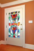 Stain glass unique custom made front door. — 图库照片