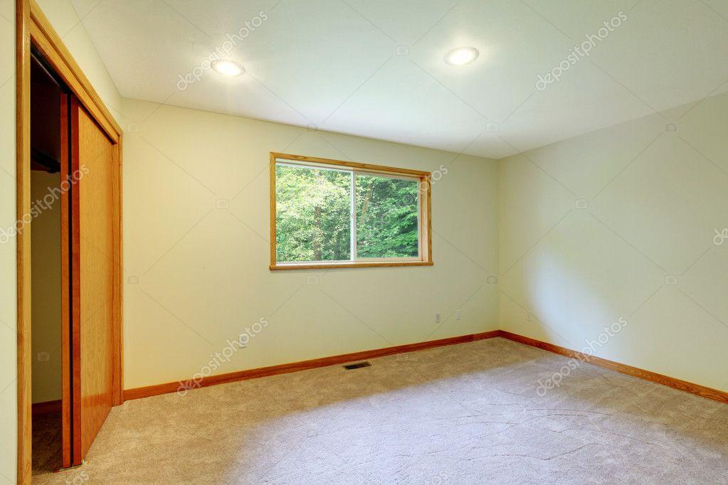 large empty new living room with open closet door stock