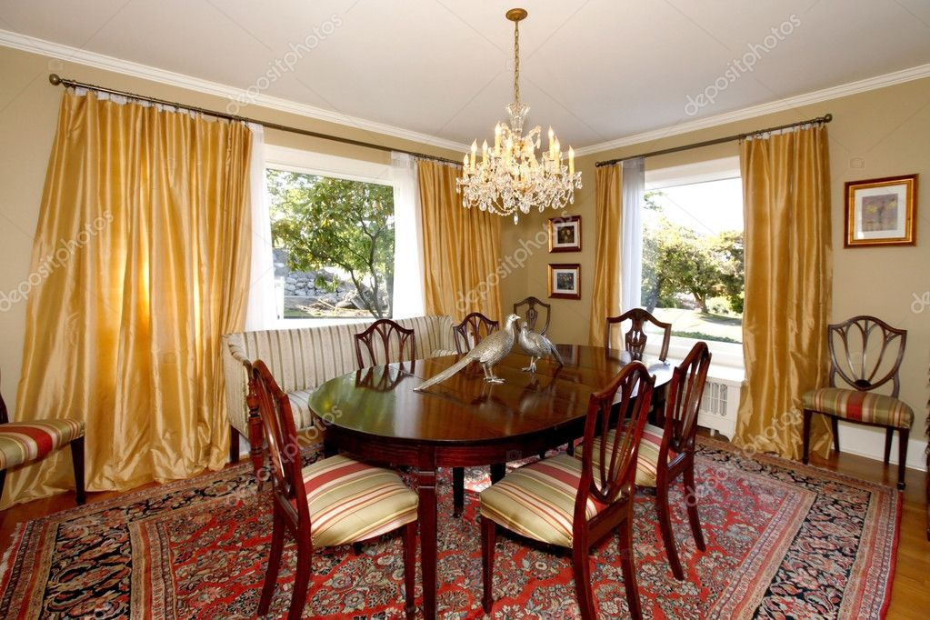 Dining room with yellow curtains and green walls stock - Yellow dining room curtains ...