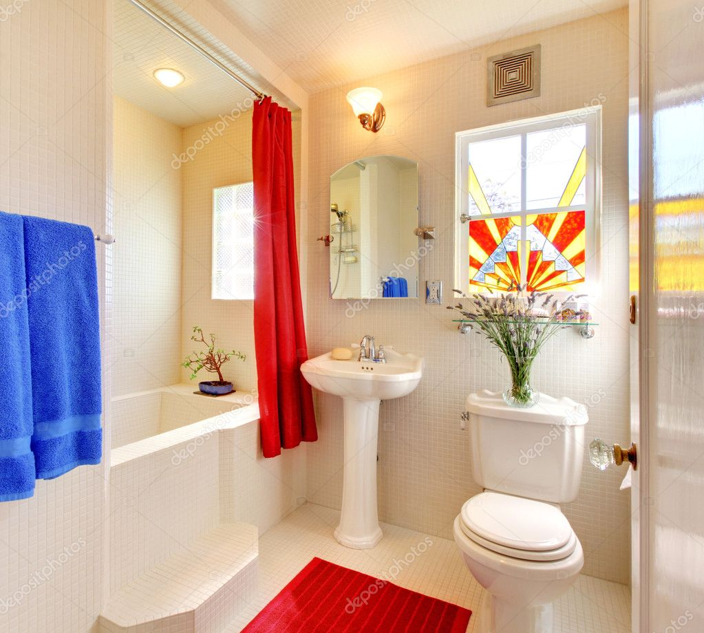 Modern White And Red Beautiful Bathroom Stock Photo