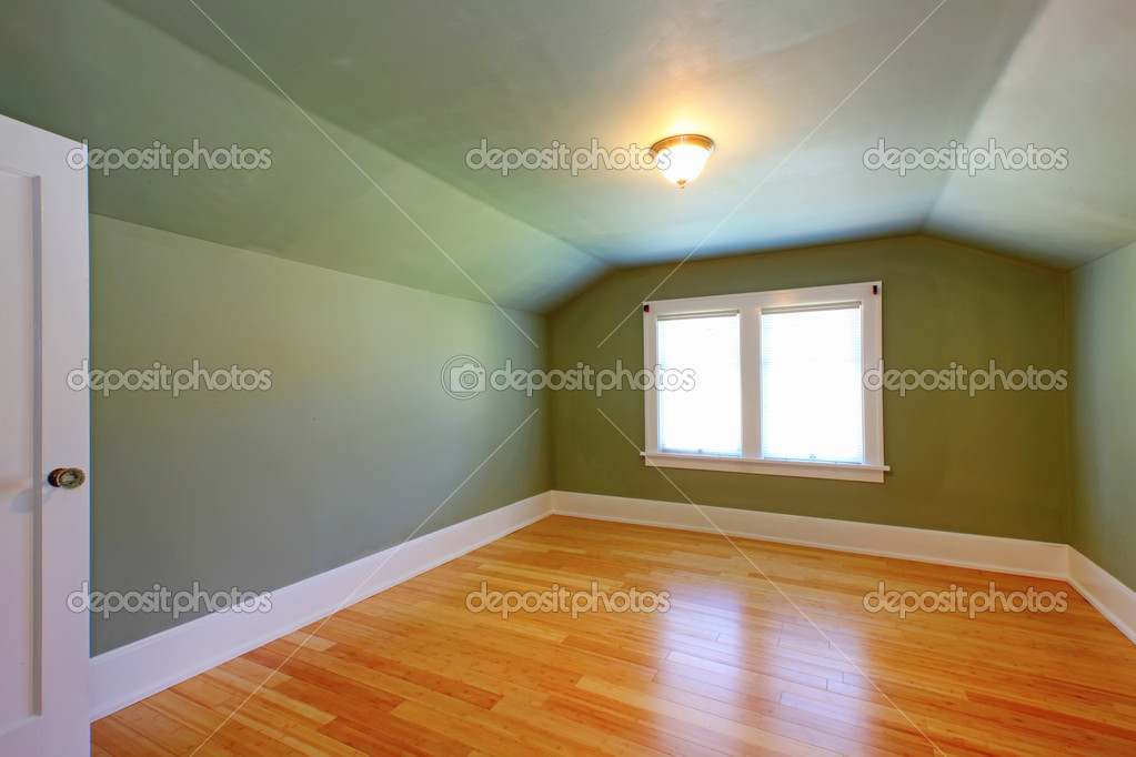 Attic small green room with double window. — Stock Photo #8877262