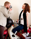 Couple on the scooter having fun during romantic date. — Stock Photo