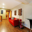Hallway with billiard poll and red sofa near the small bar. — Stock Photo #9289723