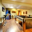 Stock Photo: Play party room home interior with pool table.