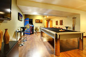 Play party room home interior with pool table. — Stock Photo