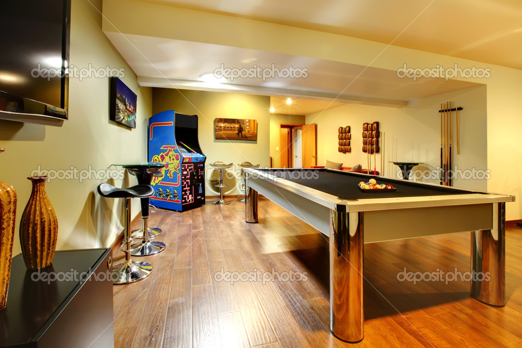 play party room home interior with pool table stock