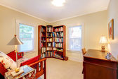 Reading Room with desk and book shelve — Stock Photo