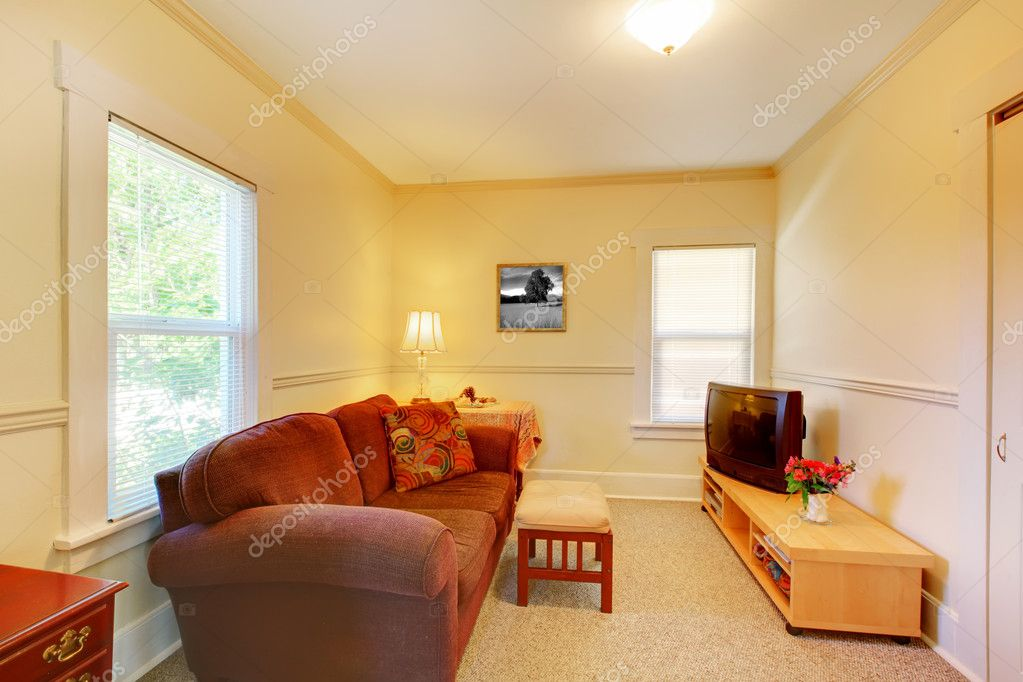Small simple living room with tv and sofa stock photo