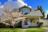 Little old cute house with a blooming cherry tree. — Stock Photo