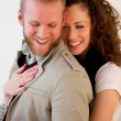 Stock Photo: Young beautiful Couple hugging happy.