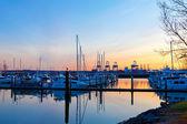 Tacoma port and marina with boats at sunset. — Stock Photo