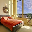 Large high ceiling bedroom with red bed. — Stock Photo #9586448