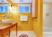 Orange bathroom with modern sink. — Stok fotoğraf