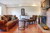 Obývací pokoj s krbem a tv — Stock fotografie