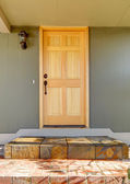 Front door light wood with green house close up. — Foto de Stock
