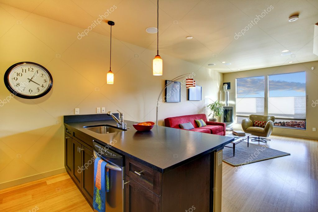 Large living room in city apartment with brown kitchen. — Stock Photo #9587081