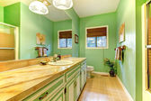 Green outdated bathroom interior. — Stock Photo