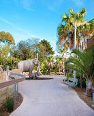 Stezka v san diego zoo s slon socha. — Stock fotografie