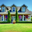 American Country farm luxury house with porch. — Stock Photo