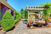 Backyard with outdoor living room. — Stock Photo