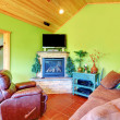 Green living room in a guest pool house. — Stock Photo #9979561