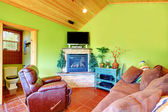 Green living room in a guest pool house. — Stock Photo