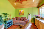 Green beach pool living room in the little house. — Stock Photo