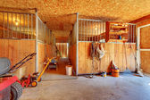 Inside of the horse farm with stables. — Stock Photo