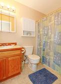 Petite salle de bain simple avec tapis violet. — Photo