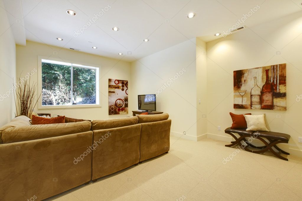 Basement area with living room and bathroom near bar. — Stock Photo #9981230