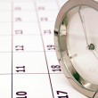 Clock on calendar — Stock Photo