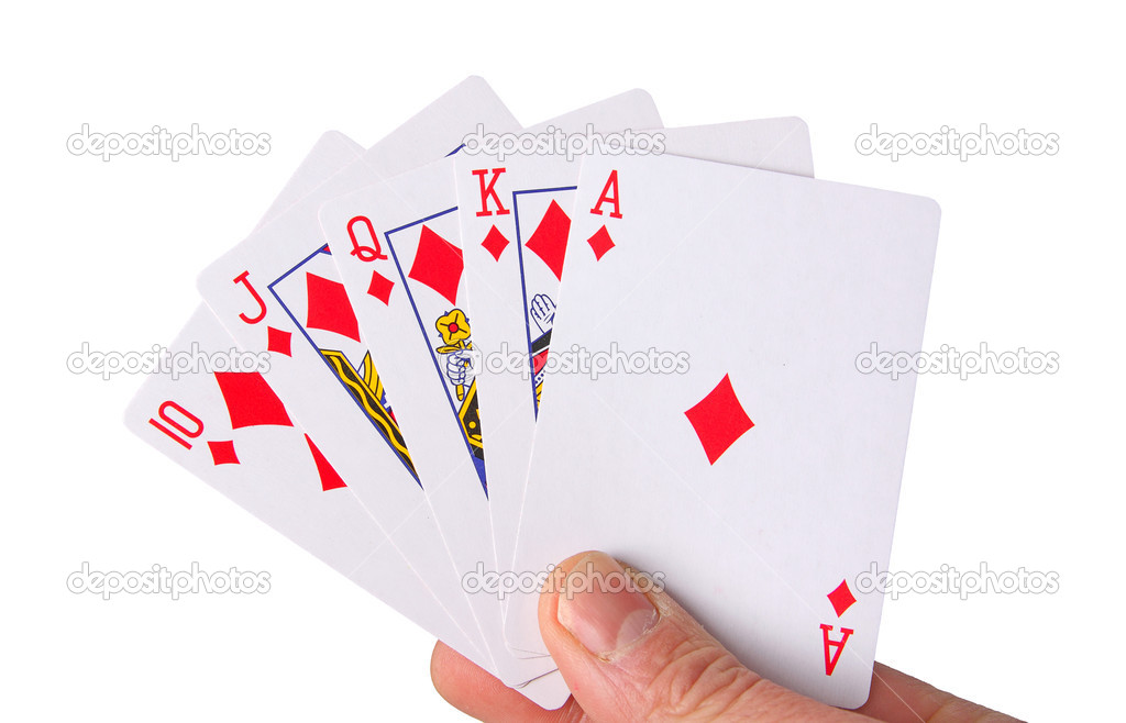 Hand holding playing cards on white — Stock Photo #9395243