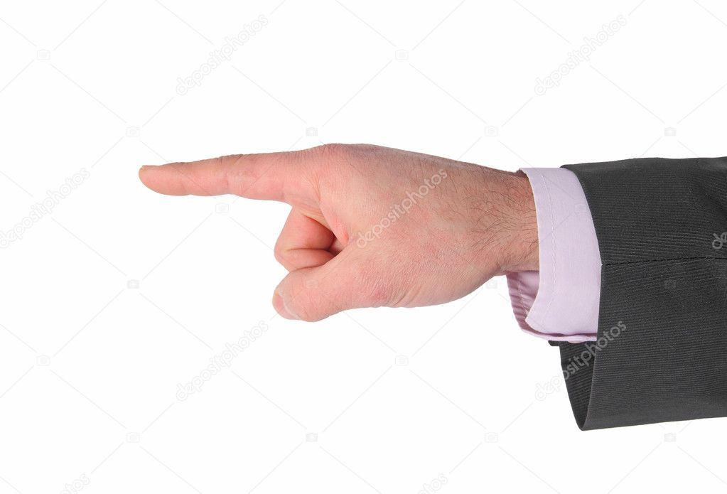 Businessman's hand pointing on white — Stock Photo #9395268