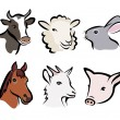 Stock Vector: Farm animal set of symbols