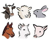 Farm animal set of symbols — Vector de stock