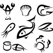 Big set of sea food symbols — Stock Vector