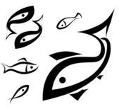 Logo-like fish symbol set — Stock Vector