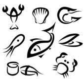 Big set of sea food symbols — Vecteur