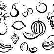 Fruits symbols collection — Stock Vector