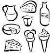 Stock Vector: Set of dairy products