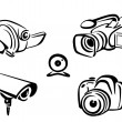 Video and photo cameras collection — Stock Vector