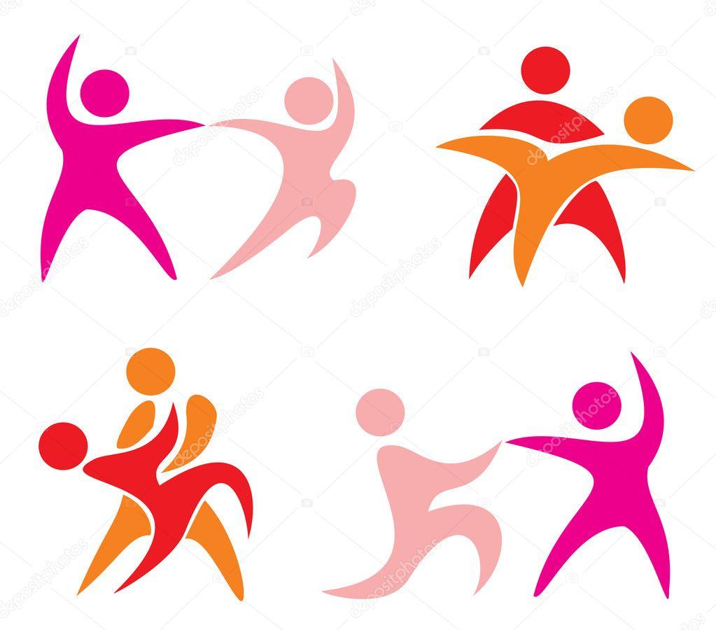 Simple Couple Dance Set of Dancing Couple Symbols