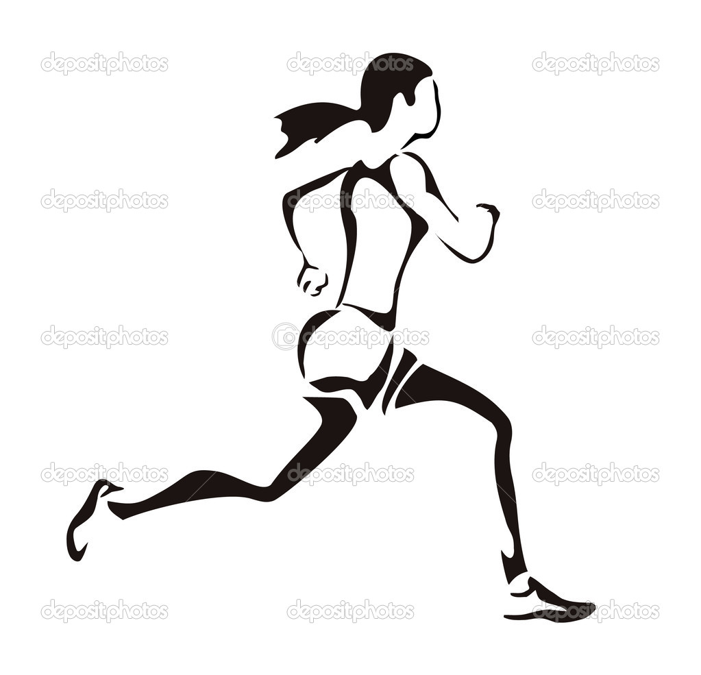 Woman running silhouette  Stock Vector #8340282