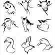Farm animals collection of icons — Stock Vector