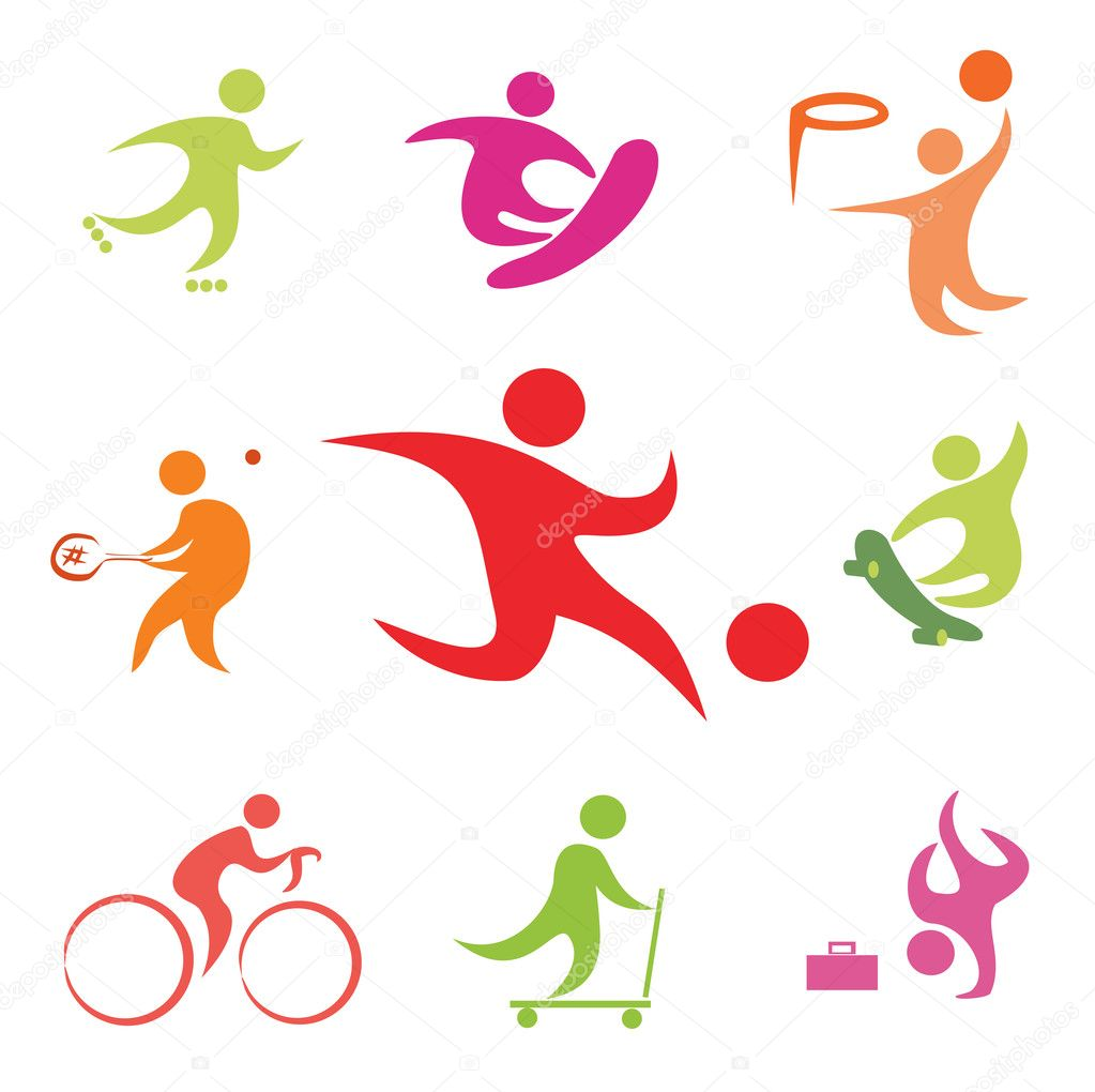 Street sport icons collection in simple figures — Stock Vector #8625475