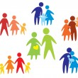 Happy family icons collection multicolored — Stock Vector #8955937
