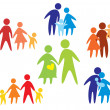 Happy family icons collection multicolored — Stock Vector