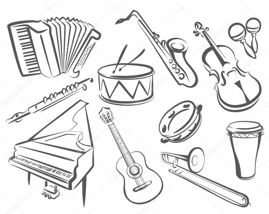 Free Coloring Pages Of Horn Instrument